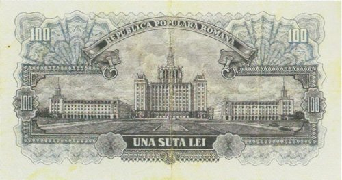 100-lei Banknote featuring the Spark House